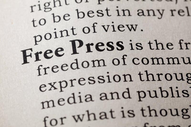 Definición de la prensa libre imagen de archivo libre de regalías