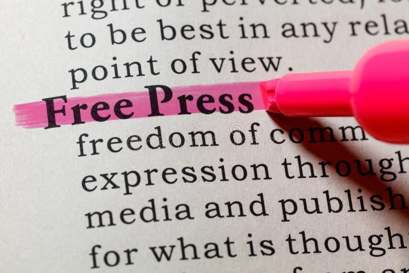 Definición de la prensa libre fotografía de archivo libre de regalías