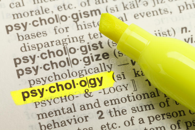 Definición de la psicología imágenes de archivo libres de regalías