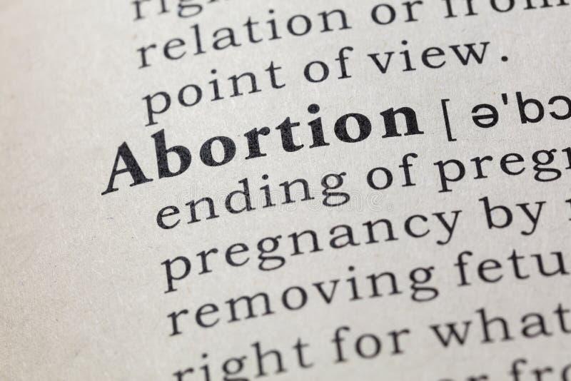 Definición del aborto imagen de archivo