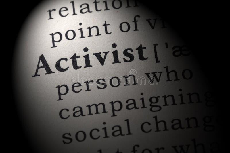 Definición del activista imagen de archivo libre de regalías