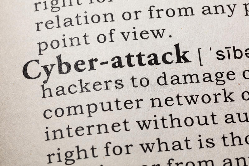 Definición del cibernético-ataque imagen de archivo libre de regalías