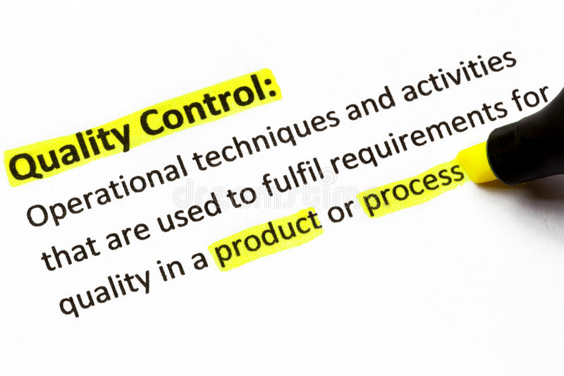 Definición del control de calidad foto de archivo