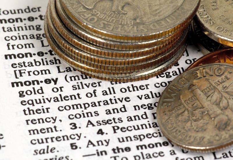 Definición del dinero foto de archivo