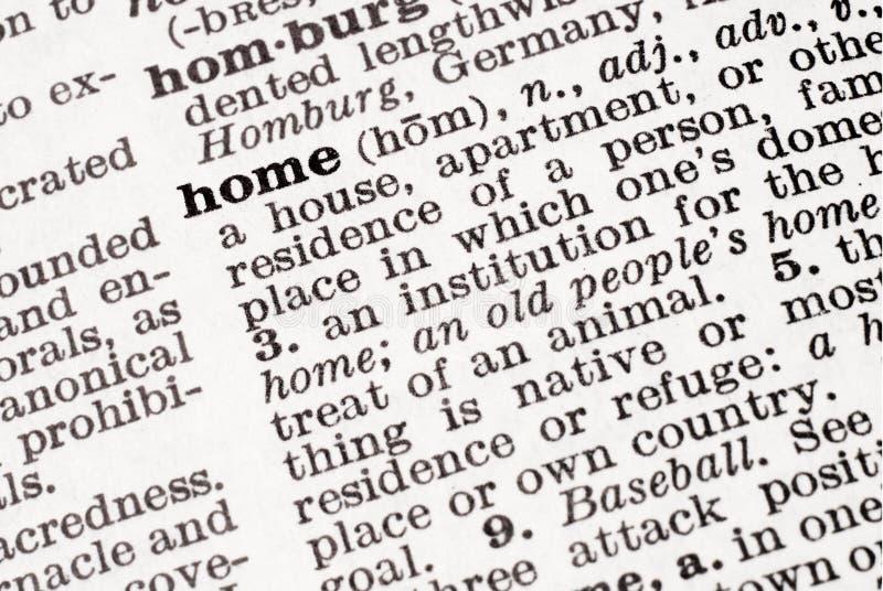 Definición del hogar imagen de archivo