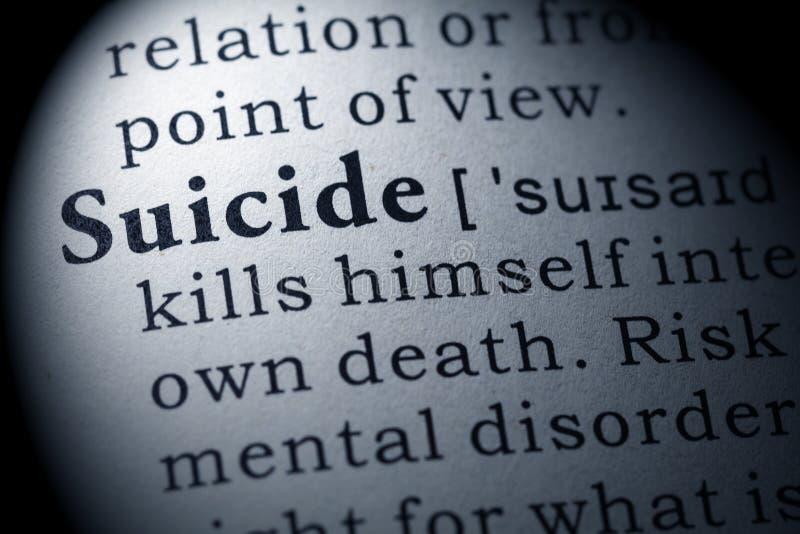 Definición del suicidio imagen de archivo