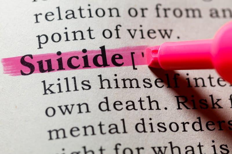 Definición del suicidio fotografía de archivo