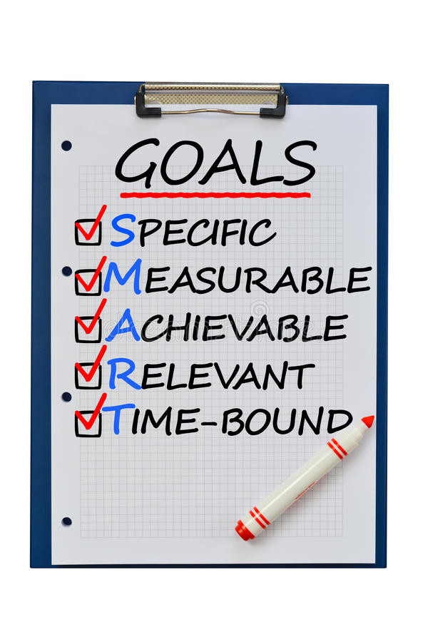Definición elegante de las metas para alcanzar blancos del plan empresarial foto de archivo