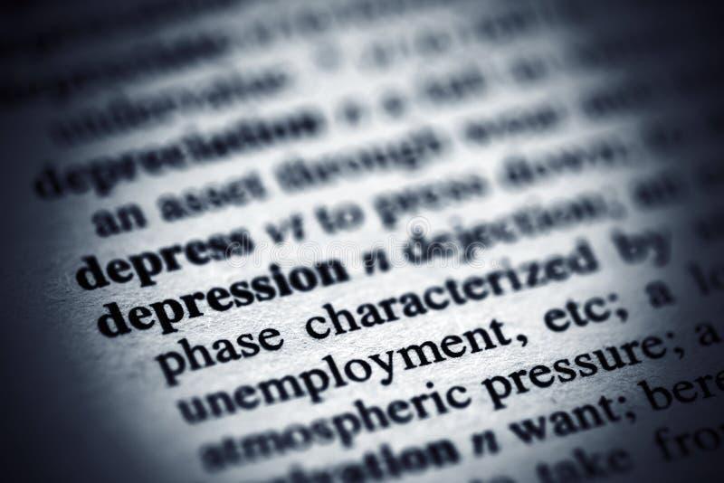 Definici?n de la depresi?n en un diccionario fotos de archivo