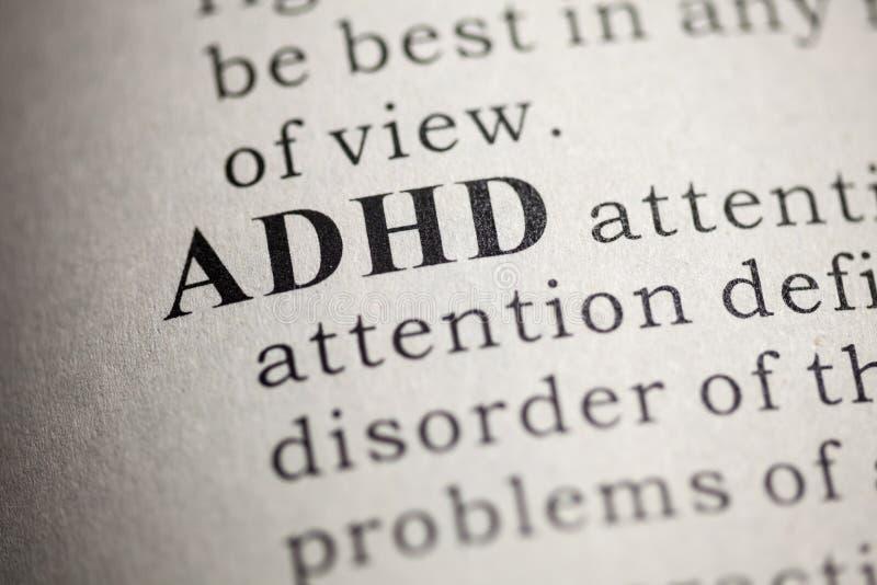 Definici?n de la palabra ADHD fotos de archivo