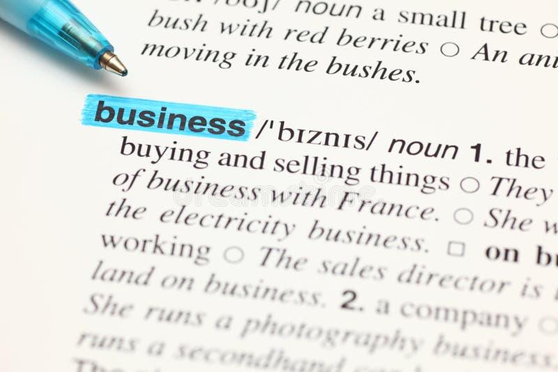 Definici słowa biznes w słowniku obraz stock
