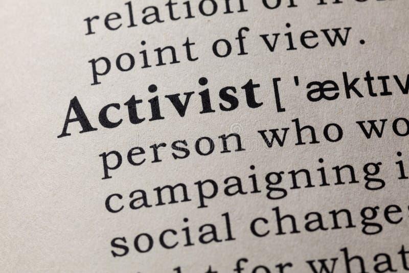Definicja aktywista obraz royalty free