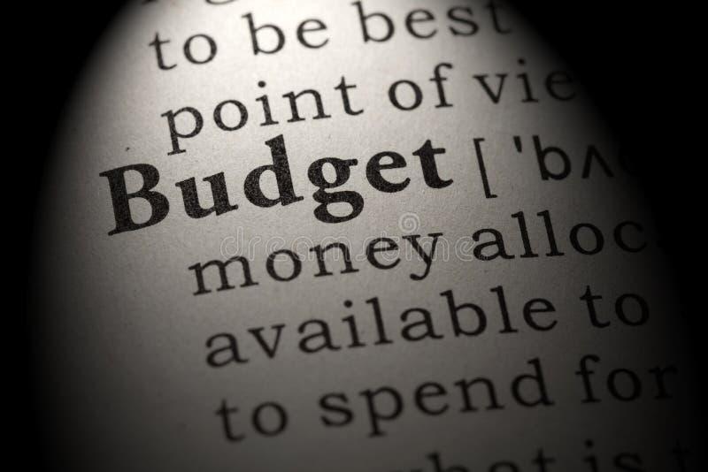 Definicja budżet zdjęcia stock