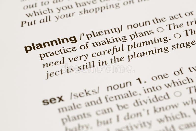 Definicja formułuje planowanie i płeć w słowniku zdjęcia stock
