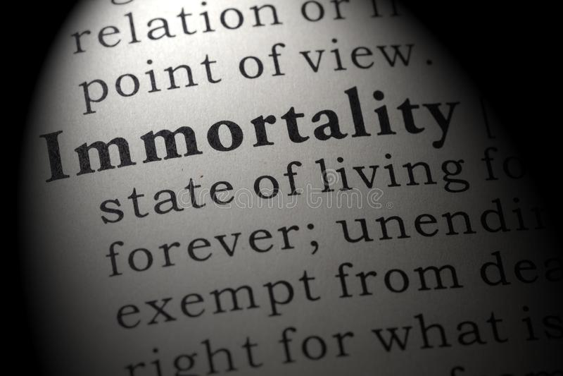 Definicja nieśmiertelność zdjęcia stock