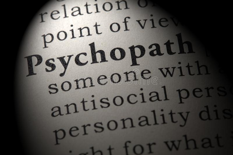 Definicja psychopata zdjęcie stock