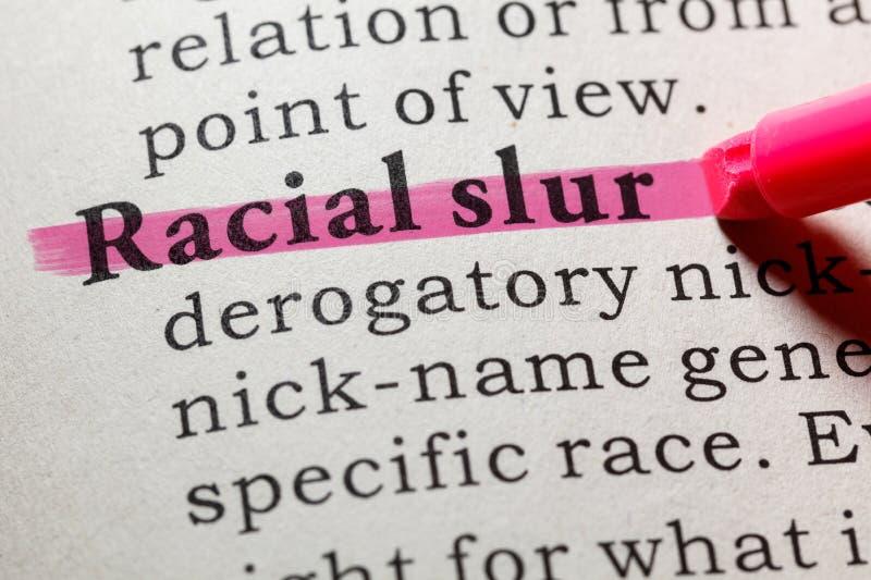 Definicja rasowy oszczerstwo obraz stock