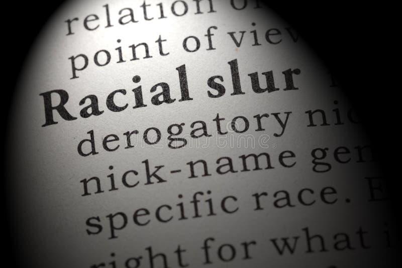 Definicja rasowy oszczerstwo fotografia stock