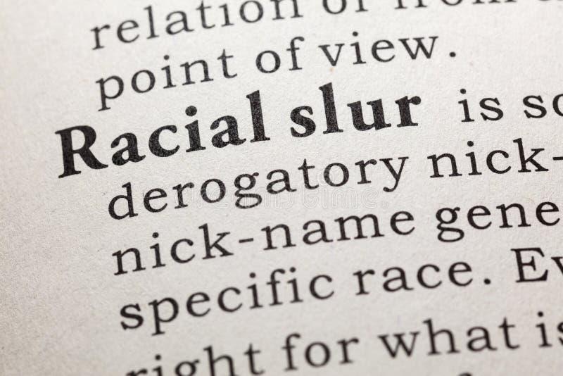Definicja rasowy oszczerstwo zdjęcie stock
