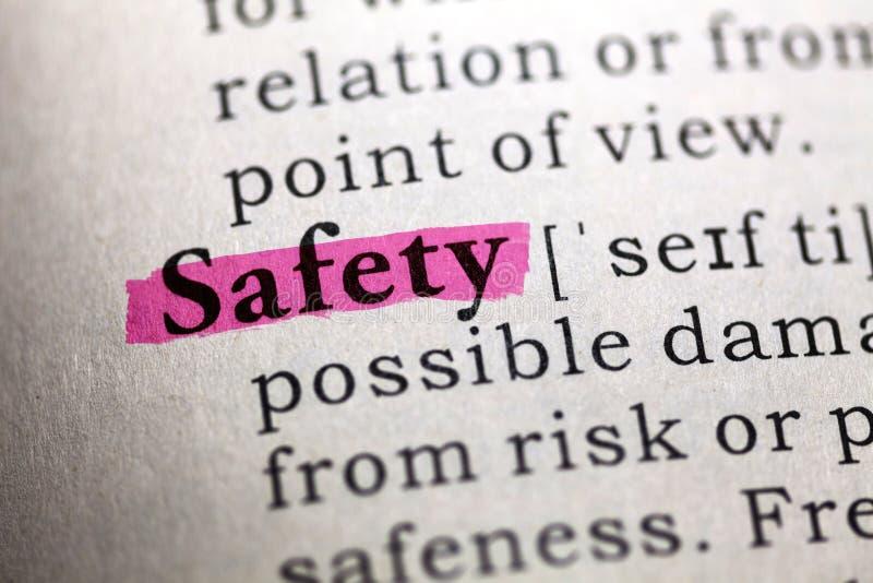 Definicja słowa bezpieczeństwo zdjęcia royalty free