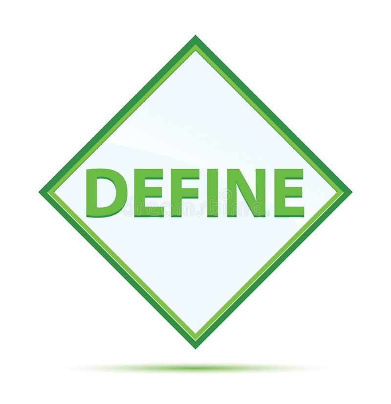 Definiera den moderna abstrakta gröna diamantknappen royaltyfri illustrationer