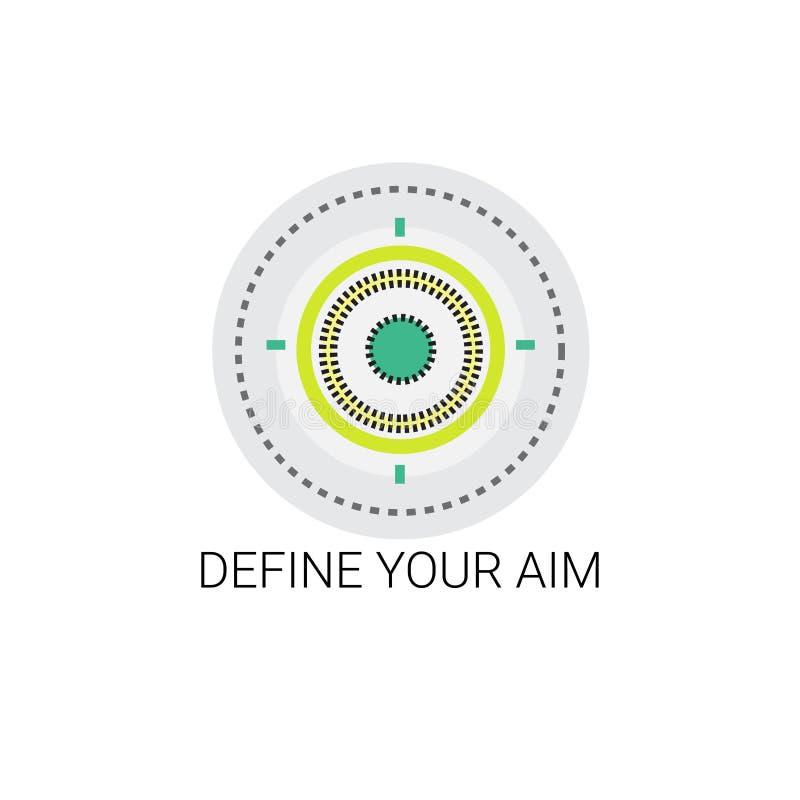 Definiera din symbol för syftemåltillfället stock illustrationer