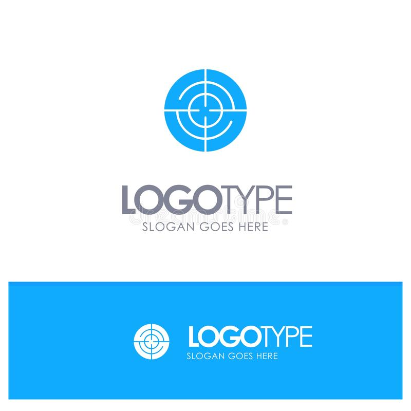 Definiera Gps, läge, blå fast logo för navigering med stället för tagline vektor illustrationer