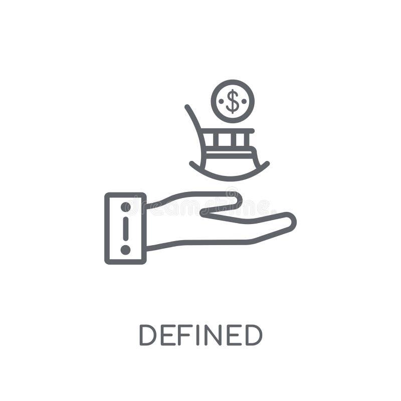 Definierad linjär symbol för bidragpension Definierad modern översikt royaltyfri illustrationer