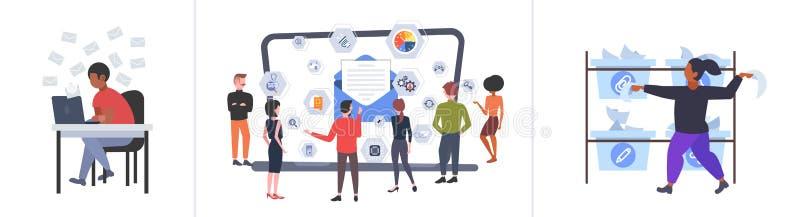 Definir empresários usando conceitos de comunicação de mídia social de laptops coletar profissionais conversando com computador o ilustração stock