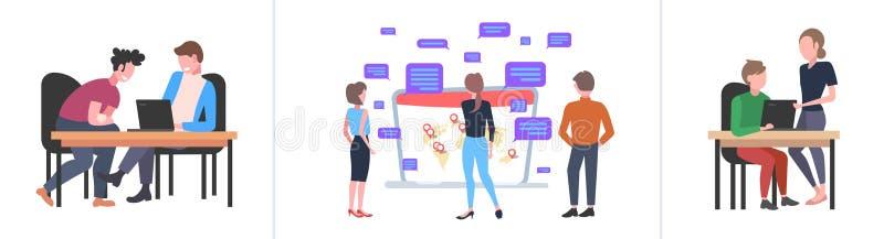 Definir empresários usando conceitos de comunicação de mídia social de laptops coletar profissionais conversando com computador o ilustração do vetor