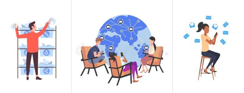 Definir empresários usando conceitos de comunicação de mídia social de laptops coletar profissionais conversando com computador o ilustração royalty free