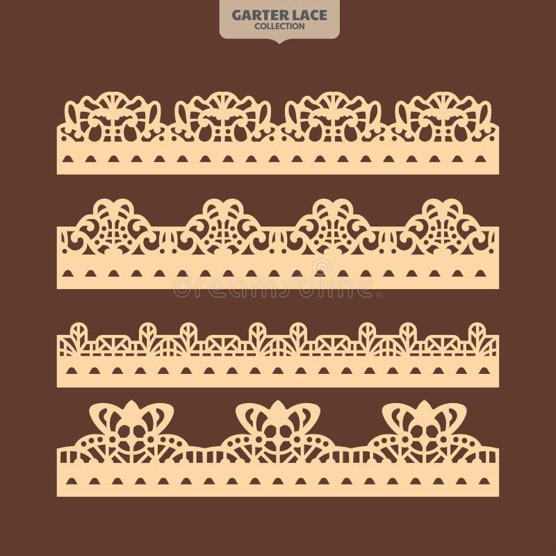 Definir o Ornamento de Lace de Garter para Bordados e Corte a Laser ilustração royalty free