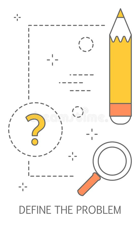 Definisca il concetto di problema Processo di soluzione dei problemi illustrazione vettoriale