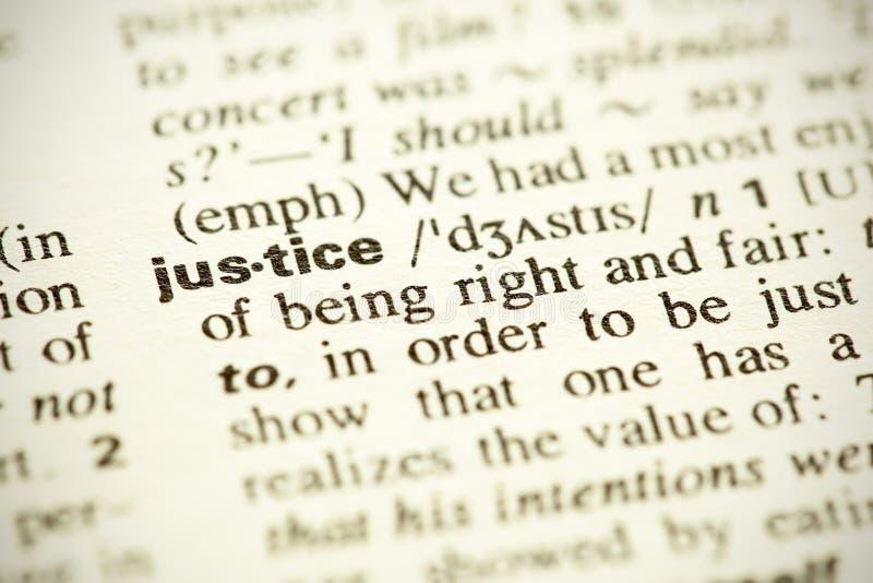 Definitie van de woordRechtvaardigheid stock foto