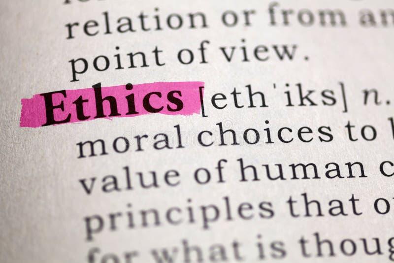 Definitie van de Word Ethiek stock foto