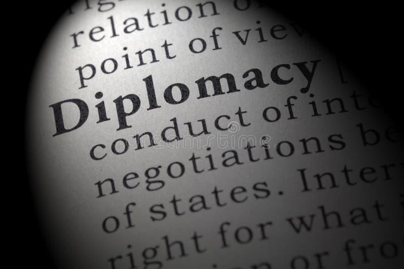 Definitie van diplomatie stock foto's
