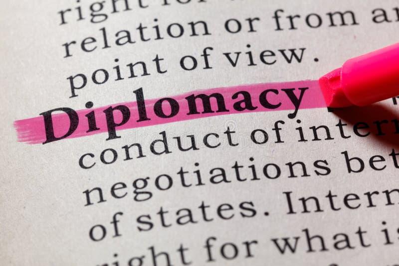Definitie van diplomatie stock afbeelding