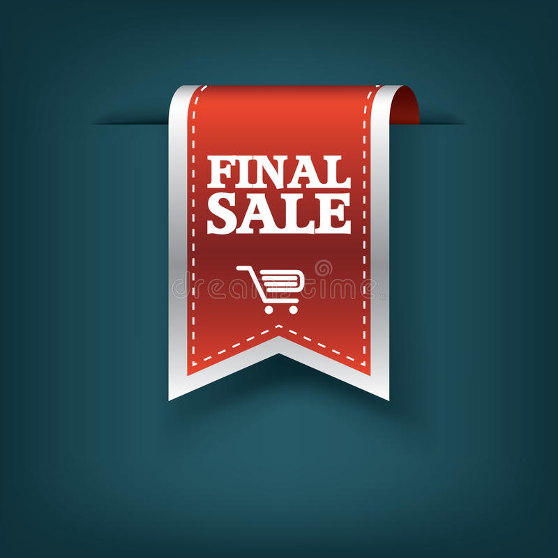 Definitief vector de markeringspictogram van het verkoop rood lint voor product bevordering en het winkelen Referentie 3d ontwerp vector illustratie