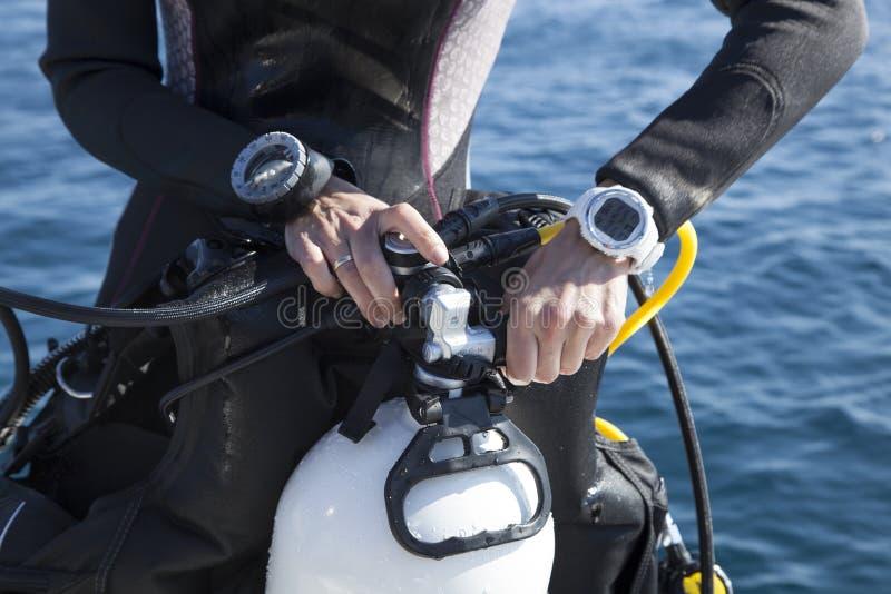 Definitieve controle vóór de duikvlucht stock foto's