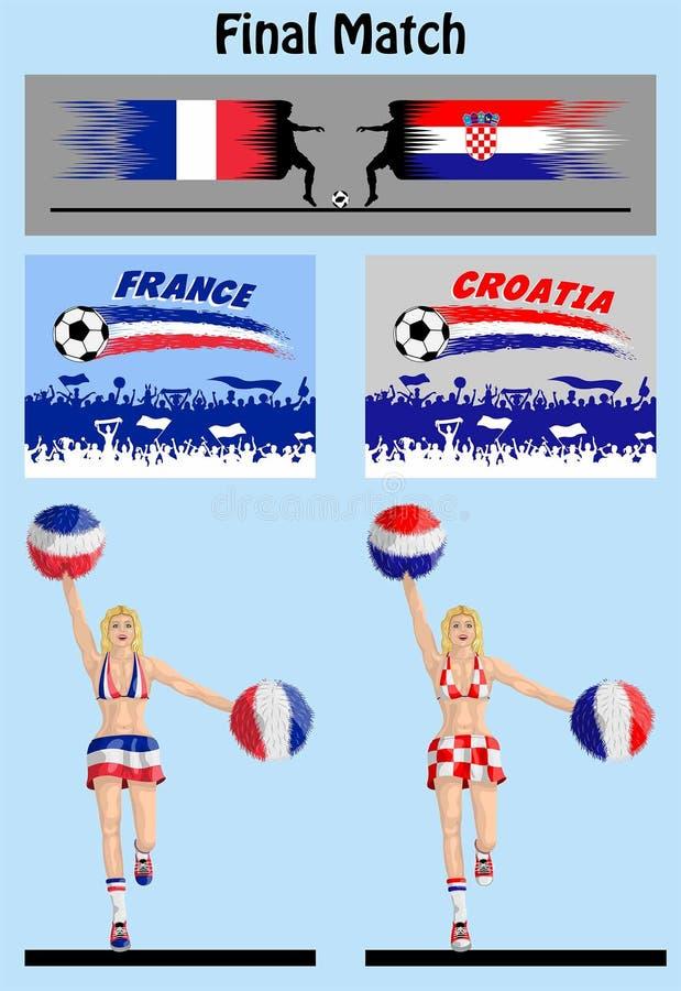 Definitieve gelijke van wereldkampioenschap 2018 tussen Frankrijk en Croati stock illustratie