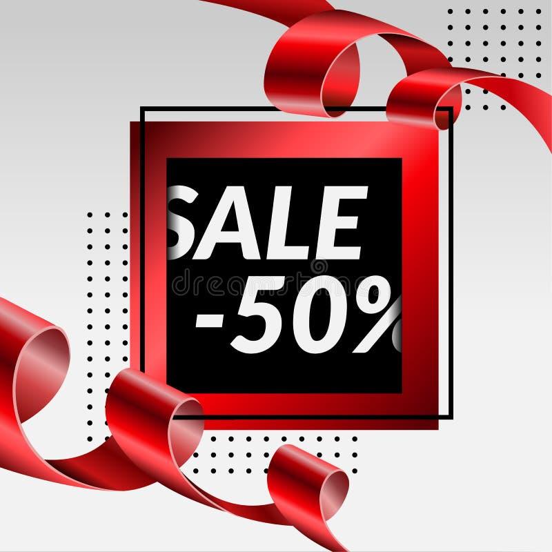 Definitieve van de de luxebanner van de verkoopaffiche 50% rode gouden tapel, Vectorillustratie royalty-vrije stock afbeelding
