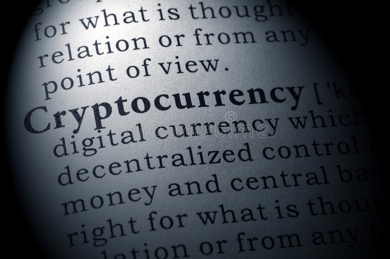 Definition av cryptocurrencyen royaltyfri bild