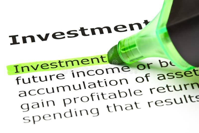Definition av ordinvesteringen royaltyfri bild