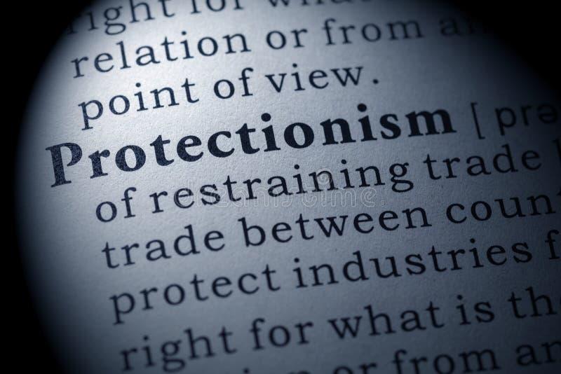 Definition av protektionism royaltyfri bild
