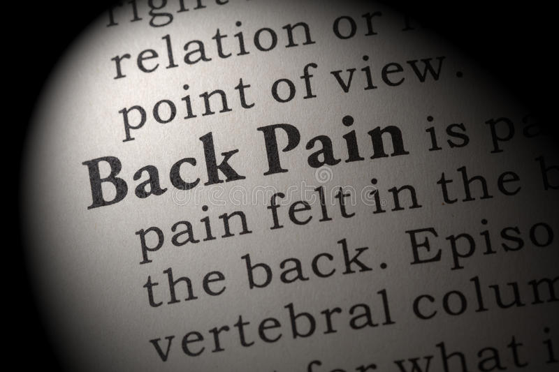 Definition of Back Pain stock image