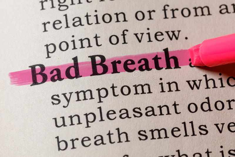 Definition of Bad Breath. Fake Dictionary, Dictionary definition of the word Bad Breath. including key descriptive words stock image