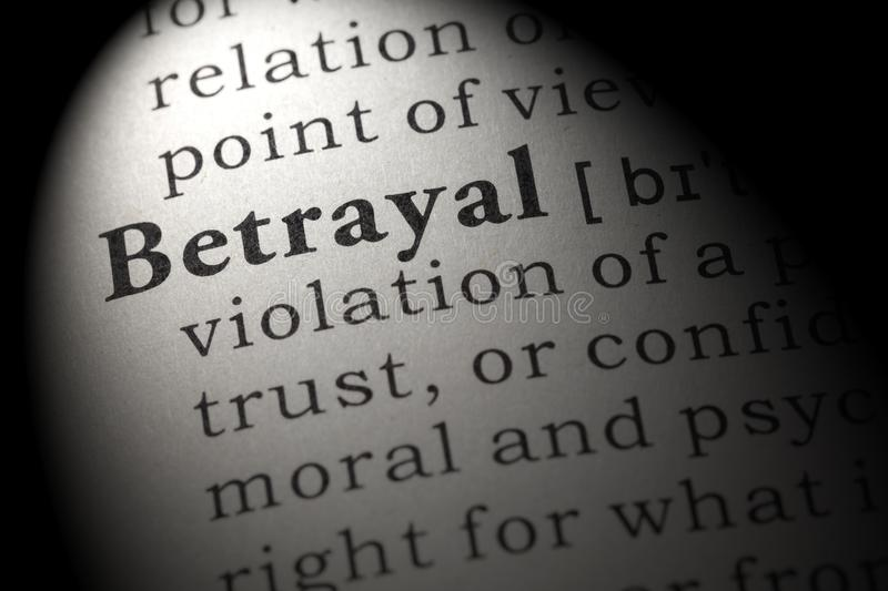 Definition of betrayal. Fake Dictionary, Dictionary definition of the word betrayal. including key descriptive words royalty free stock images