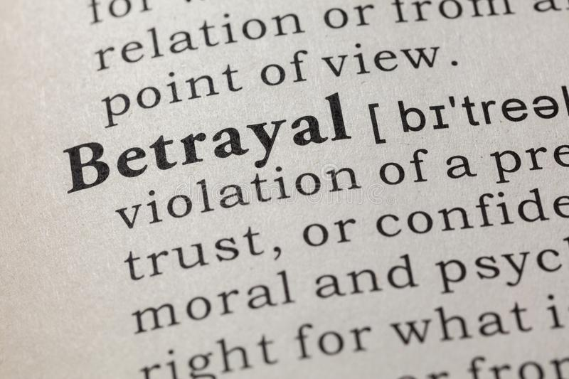 Definition of betrayal. Fake Dictionary, Dictionary definition of the word betrayal. including key descriptive words royalty free stock image
