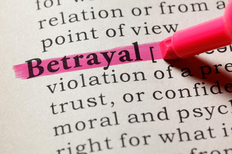 Definition of betrayal. Fake Dictionary, Dictionary definition of the word betrayal. including key descriptive words stock photography