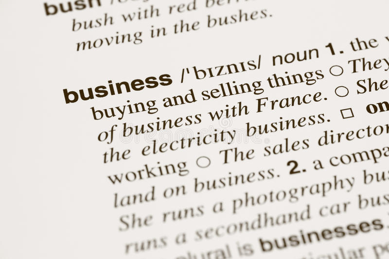Definition business in dictionary stock images